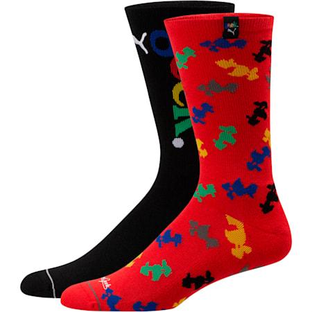 PUMA x FASHION GEEK Men's Crew Socks [2 Pack], BLACK, small